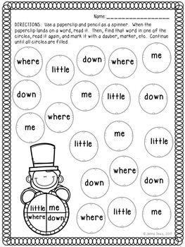 President's Day Spin-A-Sight Word:  Featuring Pre-Primer Dolch Words