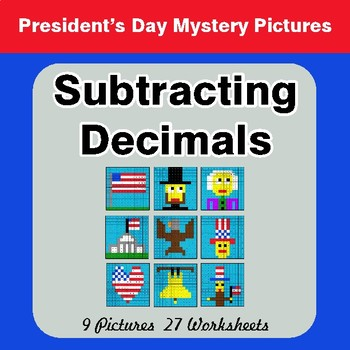 President's Day: Subtracting Decimals - Color-By-Number Math Mystery Pictures