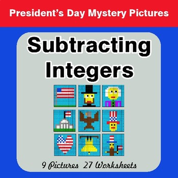 President's Day: Subtracting Integers - Color-By-Number Mystery Pictures