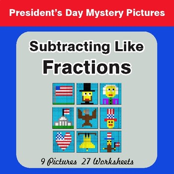 President's Day: Subtracting Like Fractions - Color-By-Number Math Mystery Pictures