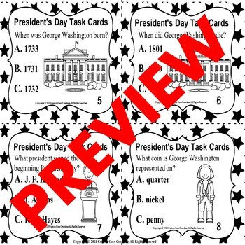President's Day Task Cards
