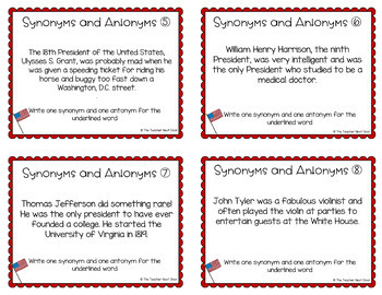 President's Day Task Cards: Synonyms Antonyms for 3rd - 5th Grade
