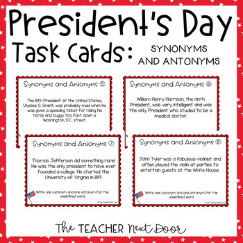 ... Presidentu0027s Day Task Cards Synonyms Antonyms | Presidentu0027s Day Activity  sc 1 st  Teachers Pay Teachers : door synonyms - Pezcame.Com