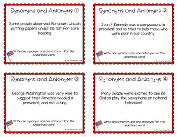 President's Day Task Cards: Synonyms Antonyms | President's Day Activity