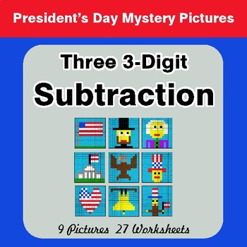 President's Day: Three 3-Digit Subtraction - Color-By-Number Mystery Pictures