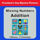 President's Day: Valentine's Day: Missing Numbers Addition - Mystery Pictures