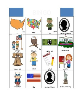President's Day Vocabulary BINGO and Matching