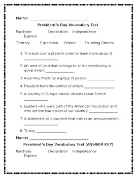 President's Day Vocabulary Package