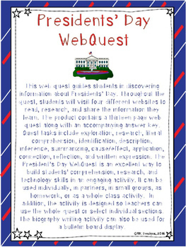 President's Day WebQuest - Engaging Internet Activity