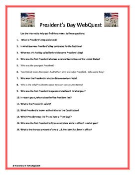 President's Day WebQuest (Internet Scavenger Hunt)