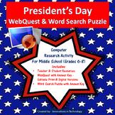 President's Day WebQuest (Internet Scavenger Hunt) | Distance Learning