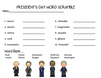 President's Day Word Scramble