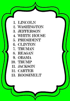 President's Day Word Scramble