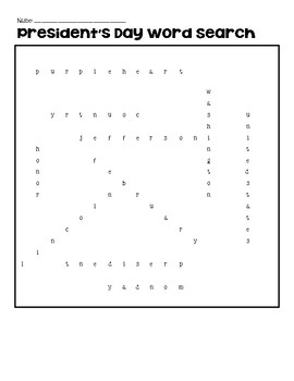 President's Day Word Search NO PREP