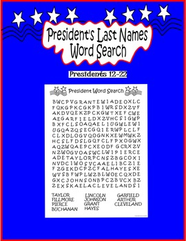 President's Day Word Search Presidents 12-22