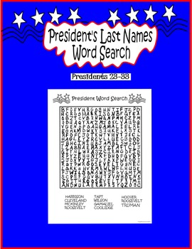 President's Day Word Search Presidents 23-33