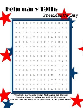 President's Day Word Search - intermediate
