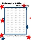 President's Day Word Search - intermediate