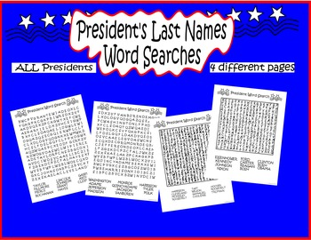 President's Day Word Searches
