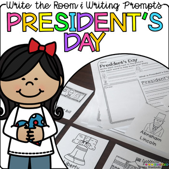 President's Day - Write the Room & Writing Prompts {Cardstock or Post Its}