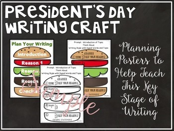 President's Day Writing Craft:  Posters, Planners, Toppers Included
