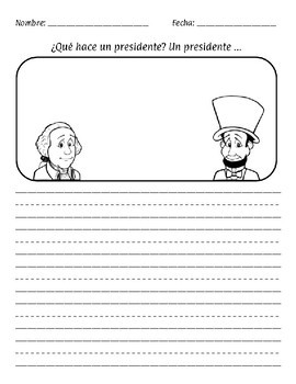 President's Day  English and Spanish Writing Prompt Papers