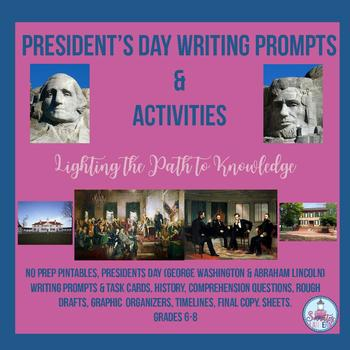 President's Day Writing Prompts & Activities (Grades 6-8)