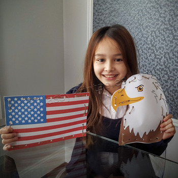 President's Day paper craft eagle and American flag weaves FREE fact sheet