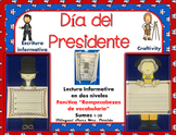 President's Day in Spanish Craftivity Reading Writing Math