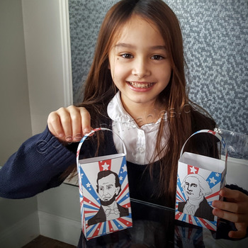 President's Day make your own paper treat bag craft activity FREE fact sheet