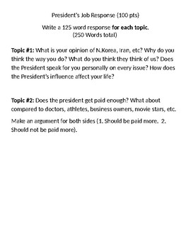 President's Job Written Response