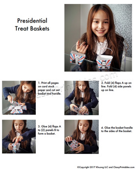 President's Day crayon/treat baskets craft activity FREE fact sheet