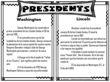 Presidentes Washington y Lincoln- Mini Unit