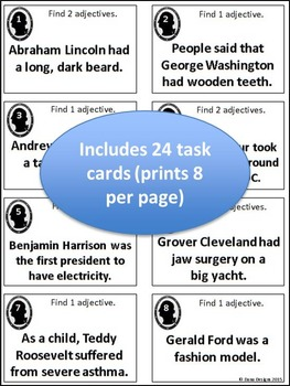 Presidential Adjectives - US President Themed Adjective Task Cards
