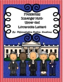 Presidential Alphabet Scavenger Hunt:  Upper and Lowercase, Center & Printables