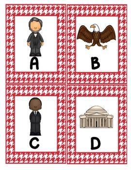 Presidential Alphabet Scavenger Hunt:  Upper and Lowercase, Center & Printables