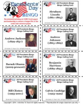 Presidential Bingo - US President's Day Bingo Fun