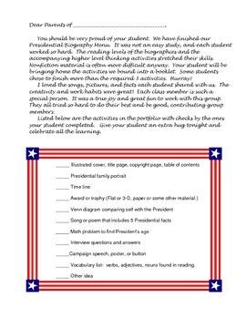 Presidential Biography Menu Study