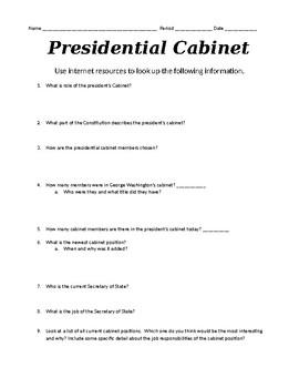 Presidential Cabinet Internet Scavenger Hunt