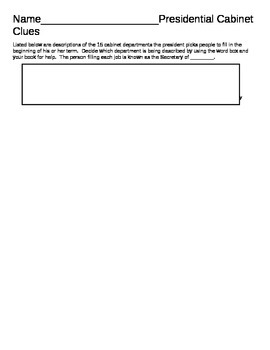 Presidential Cabinet Worksheet - executive branch