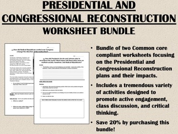 Presidential & Congressional Reconstruction bundle - US History Common Core