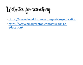 Presidential Education Policy Scavenger Hunt