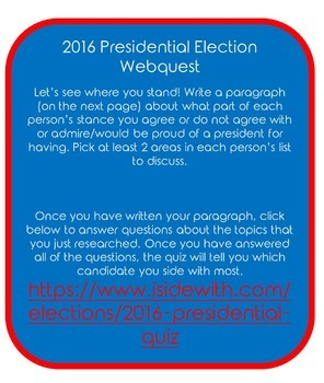 Presidential Election 2016 Webquest