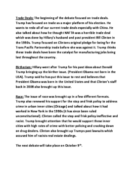 Presidential Election - Debate Review - information Clinton Trump questions