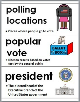 Presidential Election 2016 - Social Studies Word Wall & Printables- Election Day