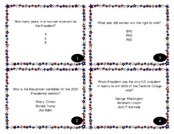 Election Day Task Card  - Trivia about the Presidents and the Election