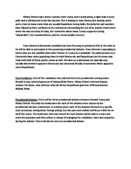 Presidential Election Update - September 2016 debates, electoral votes, polls