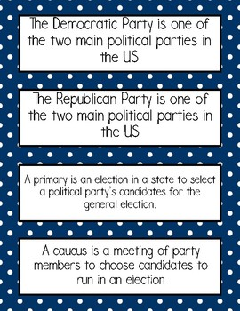 Presidential Election Vocabulary and Voting Ballot