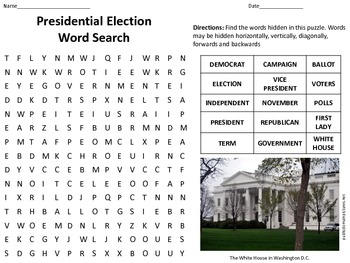 Presidential Election Word Search for students in grades 3-7