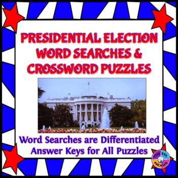 Presidential Election Word Searches and Crossword Puzzles